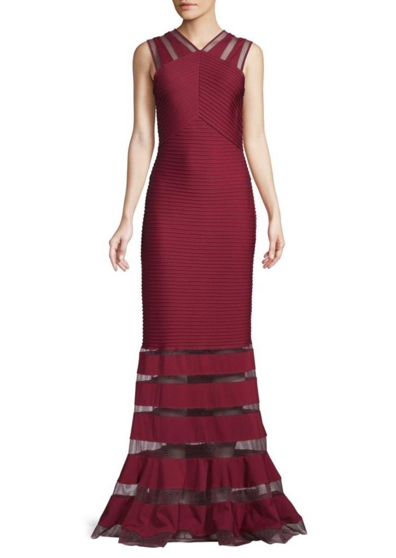Tadashi Illusion Panel Gown