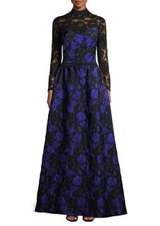 Tadashi Jacquard Lace Ball Gown