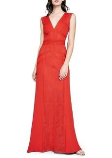 Tadashi Lace & Crepe Column Gown