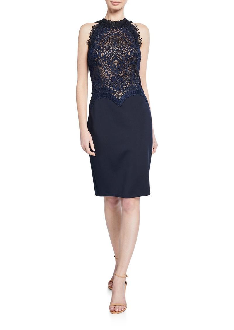 Tadashi Lace & Neoprene Halter Dress