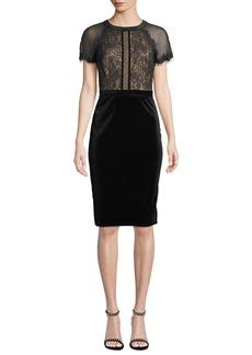 Tadashi Lace & Velvet Short-Sleeve Dress