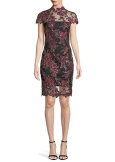 Tadashi Lace Applique Cap-Sleeve Cocktail Dress