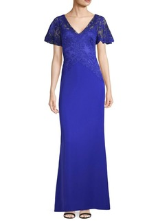 Tadashi Lace Bodice Flutter Sleeve Gown