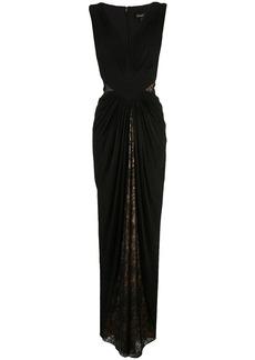 Tadashi lace draped evening dress