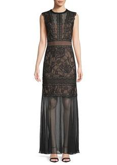 Tadashi Lace Illusion Gown