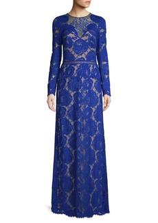 Tadashi Lace Illusion Neckline Gown