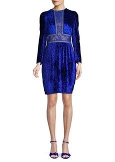 Tadashi Lace Inset Cocktail Sheath Velvet Dress