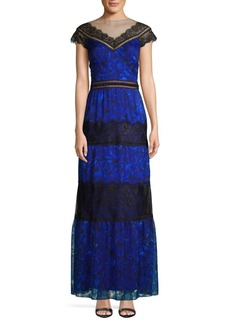 Tadashi Lace Inset Floral Gown