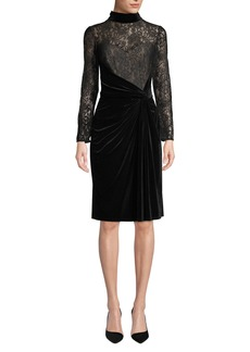 Tadashi Lace Long-Sleeve & Velvet Ruched Dress