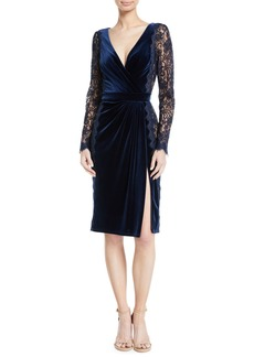 Tadashi Lace Long-Sleeve & Velvet V-Neck Dress