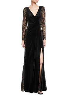 Tadashi Lace Long-Sleeve Velvet Gown