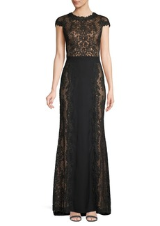 Tadashi Lace Panel Column Gown