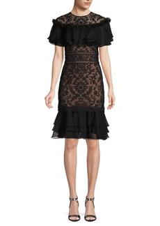 Tadashi Lace Ruffled Sheath Cocktail Dress