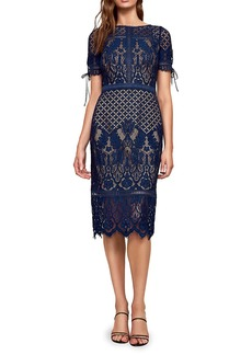 Tadashi Lace Short-Sleeve Midi Sheath Dress