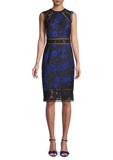 Tadashi Lace-Trimmed Jacquard Sheath Dress