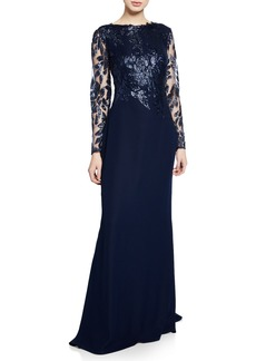 Tadashi Long-Sleeve Crepe Gown with Sequined Bodice & Sleeves