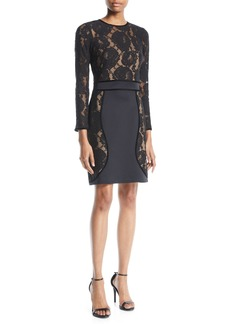 Tadashi Long-Sleeve Floral Lace & Neoprene Dress