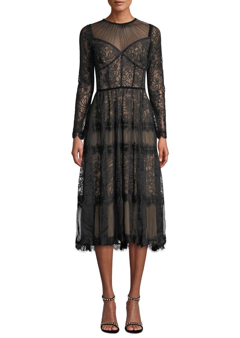 Tadashi Long-Sleeve Lace & Chiffon Dress