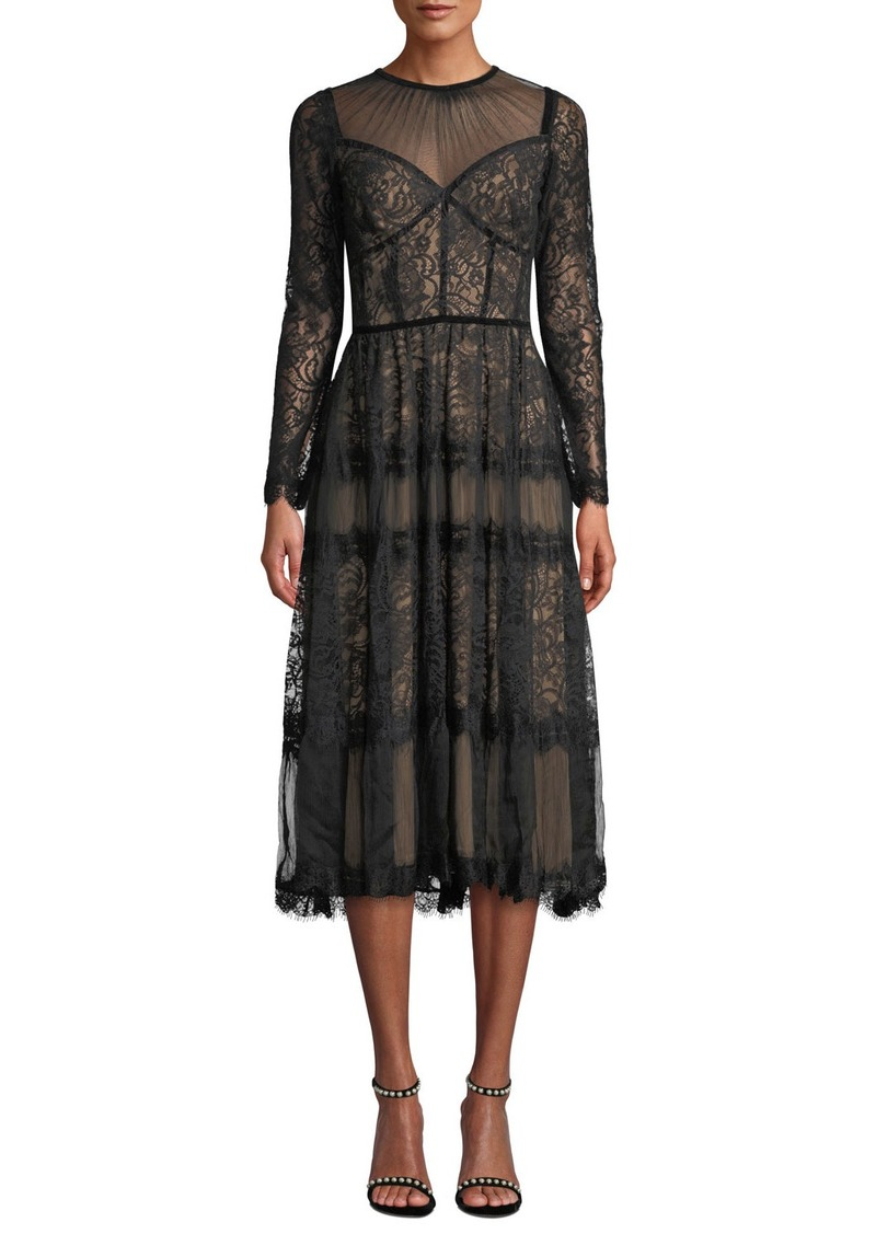 Tadashi Long-Sleeve Lace & Chiffon Dress