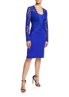 Tadashi Long-Sleeve Lace & Neoprene Sheath Dress