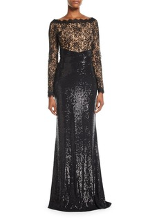Tadashi Long-Sleeve Lace & Sequin Gown w/ Train