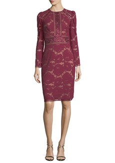 Tadashi Long-Sleeve Lace Cocktail Dress w/ Sequin Trim
