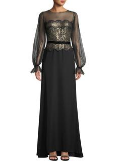 Tadashi Long-Sleeve Lace Illusion & Crepe Gown