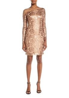 Tadashi Long-Sleeve Sequin Dress w/ Illusion