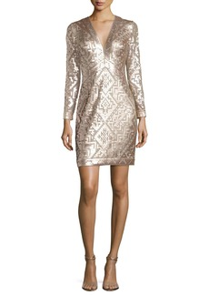 Tadashi Long-Sleeve Sequin Grid Sheath Dress