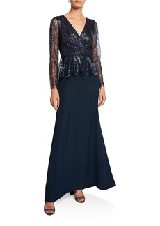 Tadashi Long-Sleeve Sequin Peplum Gown with Crepe Skirt