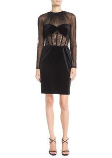 Tadashi Long-Sleeve Velvet & Lace Corset Dress