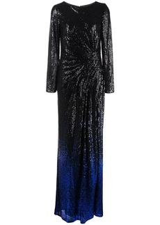 Tadashi Melati gradient glitter evening dress