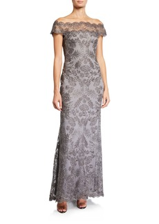 Tadashi Metallic Lace Off-the-Shoulder Illusion Gown