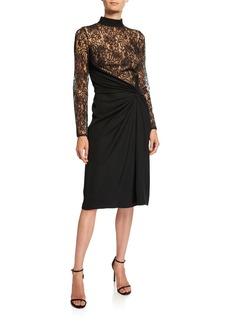Tadashi Mock-Neck Long-Sleeve Dress w/ Lace Bodice & Ruched Crepe Skirt