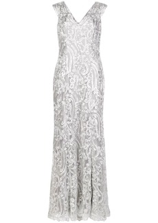 Tadashi ocean wave embroidered gown