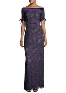Tadashi Off-the-Shoulder Circular Lace Evening Gown