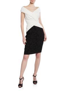 Tadashi Off-The-Shoulder Colorblock Hammered Crepe Short-Sleeve Dress
