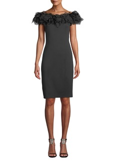 Tadashi Off-the-Shoulder Feathery-Trim Neoprene Sheath Cocktail Dress