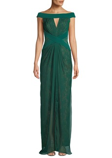 Tadashi Off-the-Shoulder Pintuck & Lace Jersey Gown
