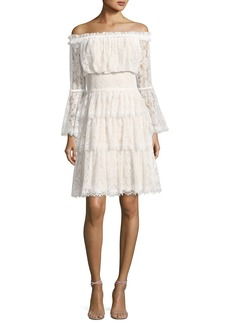 Tadashi Off-the-Shoulder Tiered Lace Cocktail Dress  Ivory/Petal