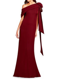 Tadashi One-Shoulder Bow Crepe Gown