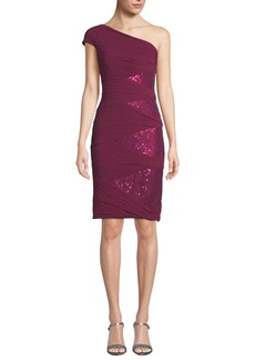 Tadashi One-Shoulder Jersey Pintuck Dress w/ Sequins