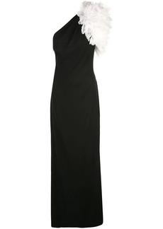 Tadashi oversized ruffle one shoulder gown