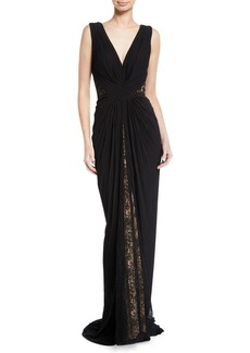 Tadashi Pintuck Jersey & Lace V-Neck Gown