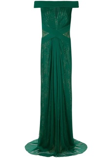 Tadashi pleated lace gown