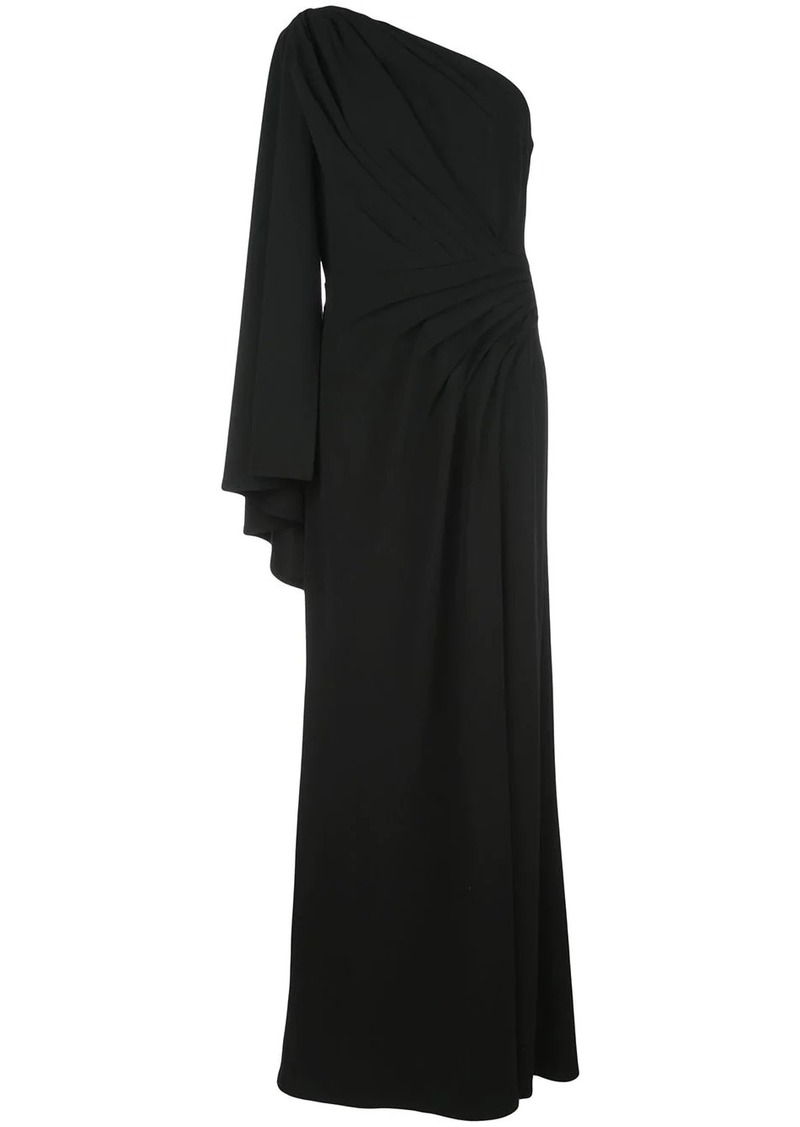 Tadashi pleated one-shoulder gown