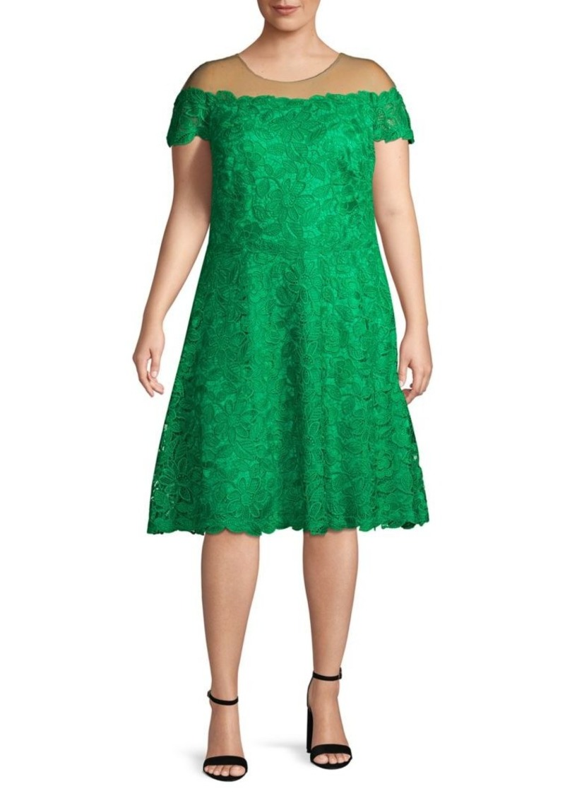 Tadashi Plus Lace Illusion Knee-Length Dress