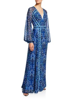 Tadashi Printed V-Neck Long-Sleeve Jersey Gown