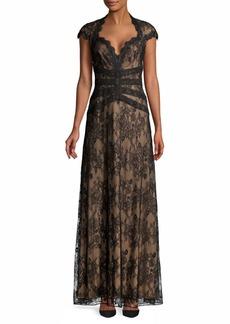 Tadashi Queen Anne Neckline Lace Gown