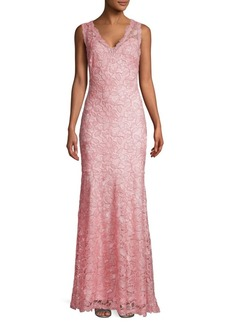 Tadashi Rose Lace V-Neck Gown